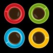Colorful cups on black background — Stock Vector