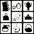 Teapots and cups set — Imagen vectorial