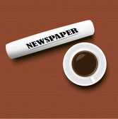 A cup of coffee and a newspaper on the table — Vector de stock