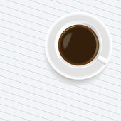 A cup of coffee on the sheet of paper — Stock Vector