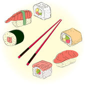 Colored sketchy sushi set — Stok Vektör