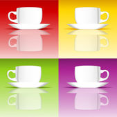 Set of coffee cups on colored backgrounds — 图库矢量图片