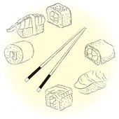 Sketchy sushi set — Stock Vector
