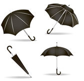Black umbrellas set — Stock Vector