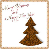 Christmas tree made of coffee beans — Stockvector