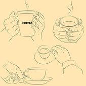 Handen met cups — Stockvector