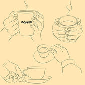 Hands with cups — Vector de stock