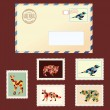 图库矢量图片: Envelope and stamps