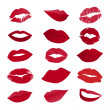 Vector set of lips — Stockvektor