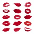 Vector set of lips — Stok Vektör