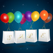 Sale shopping bags with balloons — Vettoriali Stock