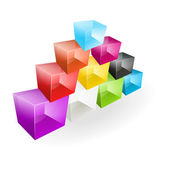 Color glass cubes made a pyramid — Vector de stock