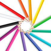 Color pencils in a circle — Vettoriale Stock