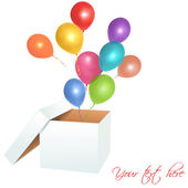 Open box with balloons — Stockvector