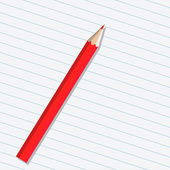 Red pencil on a sheet of paper — Vecteur