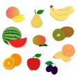 Fruits sketchy icons — Stockvectorbeeld