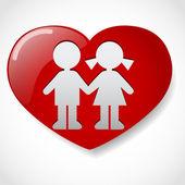 Jongen en meisje in het hart pictogram — Stockvector