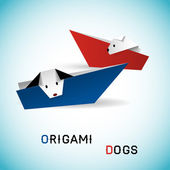 Dogs in boats origami — Stock Vector