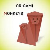 Monkeys origami — Stock Vector