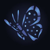 Blue butterfly on black background — 图库矢量图片