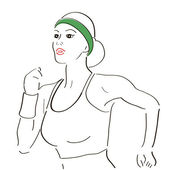 Running woman sketch — Stockvector