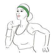 実行中の女性のスケッチ — ストックベクタ