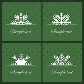 Four snowflakes on the green background — Stock Vector