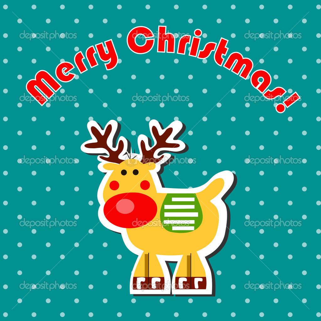 dibujos animados de reno de navidad u vector de stock