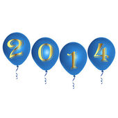 New Year blue balloons — Vector de stock