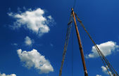 Wooden mast sailing ship — Stock Photo