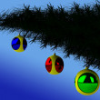 Christmas tree branch with balls — Stock Photo