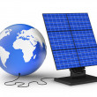 Solar panel and earth — Stock Photo