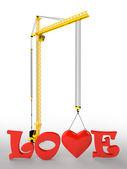Tower crane love — Zdjęcie stockowe
