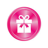 Pink button with a gift — Stock Photo