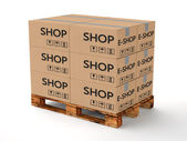Pallet with cardboard boxes — Stock Photo