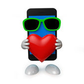 Smartphone with heart — Stock Photo