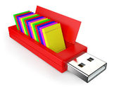 Usb flash drive and books — Stock Photo