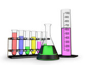 Different chemistry flasks — Stock Photo