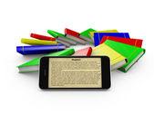 Smartphone and colored books — Stock Photo