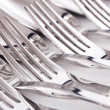 Close up of flatware isolated on white background — Stock Photo