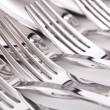 Stock Photo: Close up of flatware isolated on white background