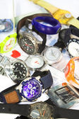 Pile of various wrist watches — Stock Photo