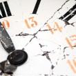 Old and damaged retro clock with roman numeral — Stock Photo