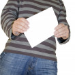 Man holding white paper — Stock Photo