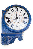 Old and damaged retro clock with roman numeral from an abandoned train station — Stock Photo