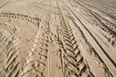Tractor wheel tracks in golden beach sand — Stock Photo