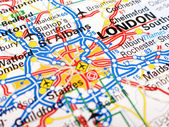 Close up of a road map of London — Stock Photo