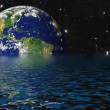 Drowning Earth due to Global Warming and Greenhouse Effect — Stock Photo