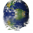 Drowning Earth due to Global Warming and Greenhouse Effect — Stock Photo #13310552