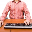 Man typing in the computer keyboard and using a mouse — Foto Stock